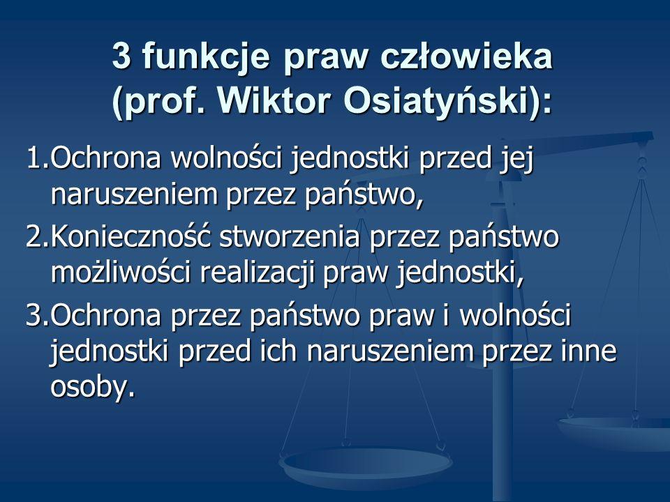 3 funkcje praw człowieka (prof. Wiktor Osiatyński): 1.Ochrona wolności jednostki przed jej naruszeniem przez państwo, 2.Konieczność stworzenia przez p