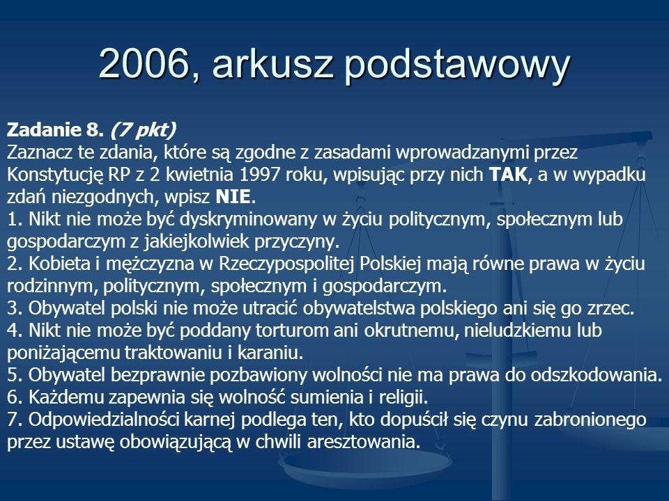 2006, arkusz podstawowy Zadanie 8. (7 pkt) Zaznacz te zdania, które są zgodne z zasadami wprowadzanymi przez Konstytucję RP z 2 kwietnia 1997 roku, wp