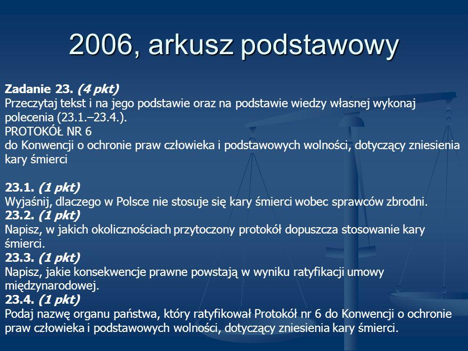 2006, arkusz podstawowy Zadanie 23. (4 pkt) Przeczytaj tekst i na jego podstawie oraz na podstawie wiedzy własnej wykonaj polecenia (23.1.–23.4.). PRO