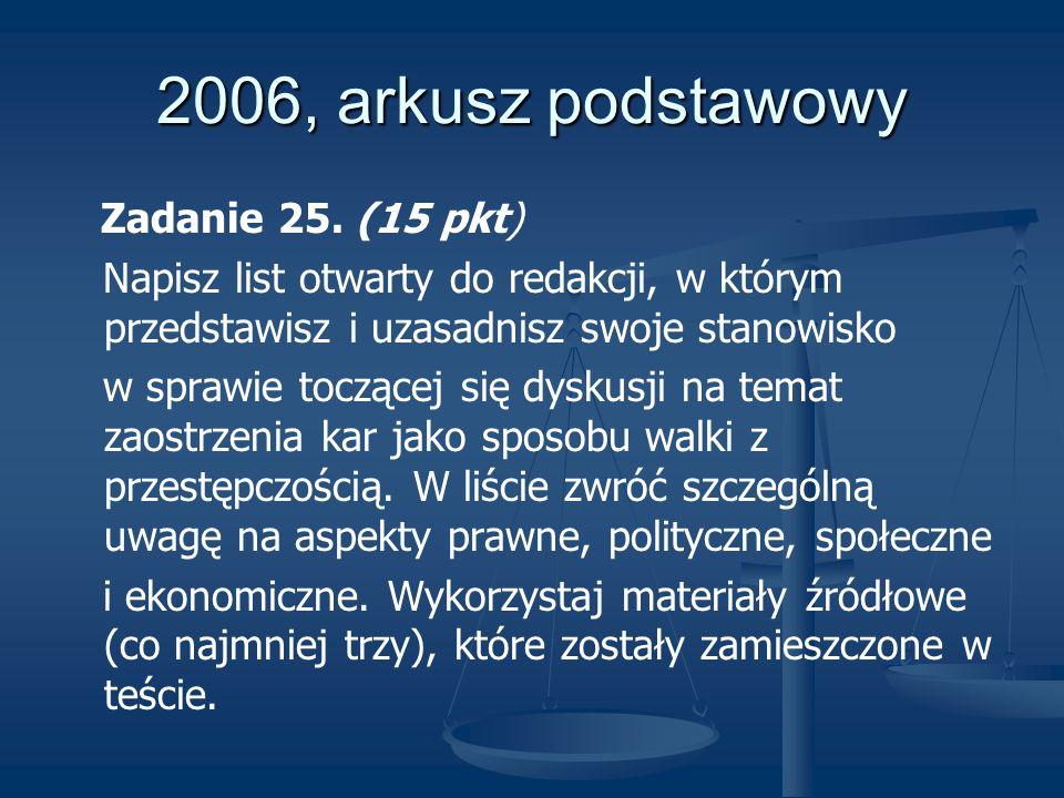2006, arkusz podstawowy Zadanie 25. (15 pkt) Napisz list otwarty do redakcji, w którym przedstawisz i uzasadnisz swoje stanowisko w sprawie toczącej s