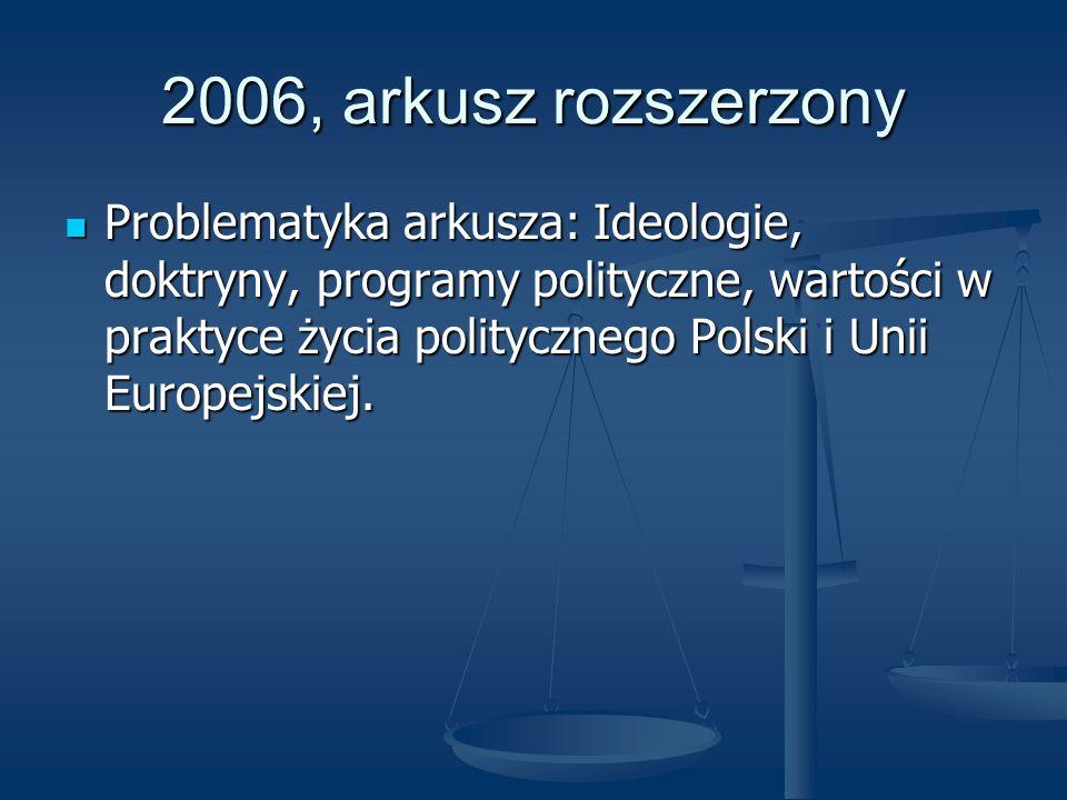 2006, arkusz rozszerzony Problematyka arkusza: Ideologie, doktryny, programy polityczne, wartości w praktyce życia politycznego Polski i Unii Europejs