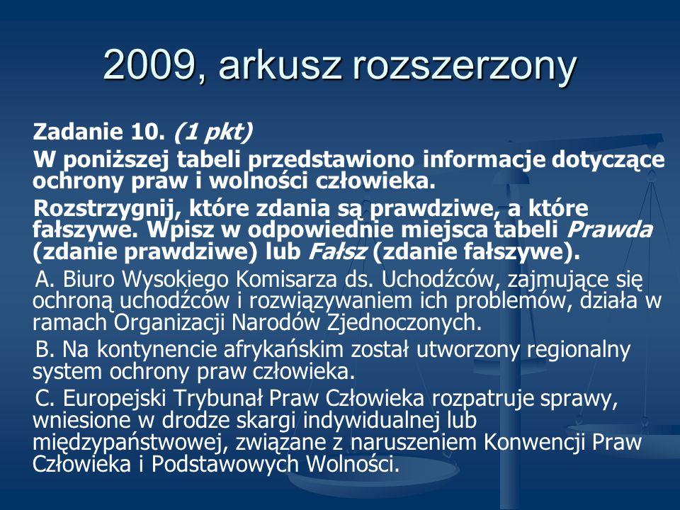 2009, arkusz rozszerzony Zadanie 10. (1 pkt) W poniższej tabeli przedstawiono informacje dotyczące ochrony praw i wolności człowieka. Rozstrzygnij, kt