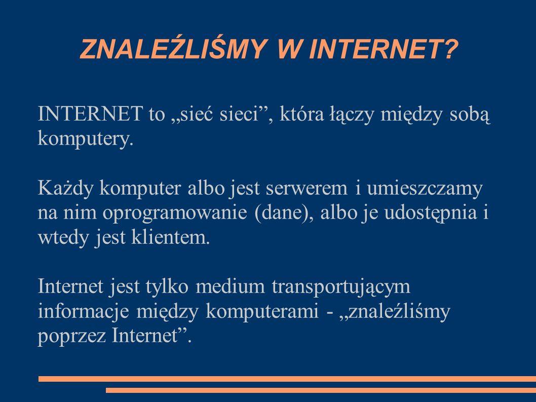 INTERNET to sieć sieci, która łączy między sobą komputery.