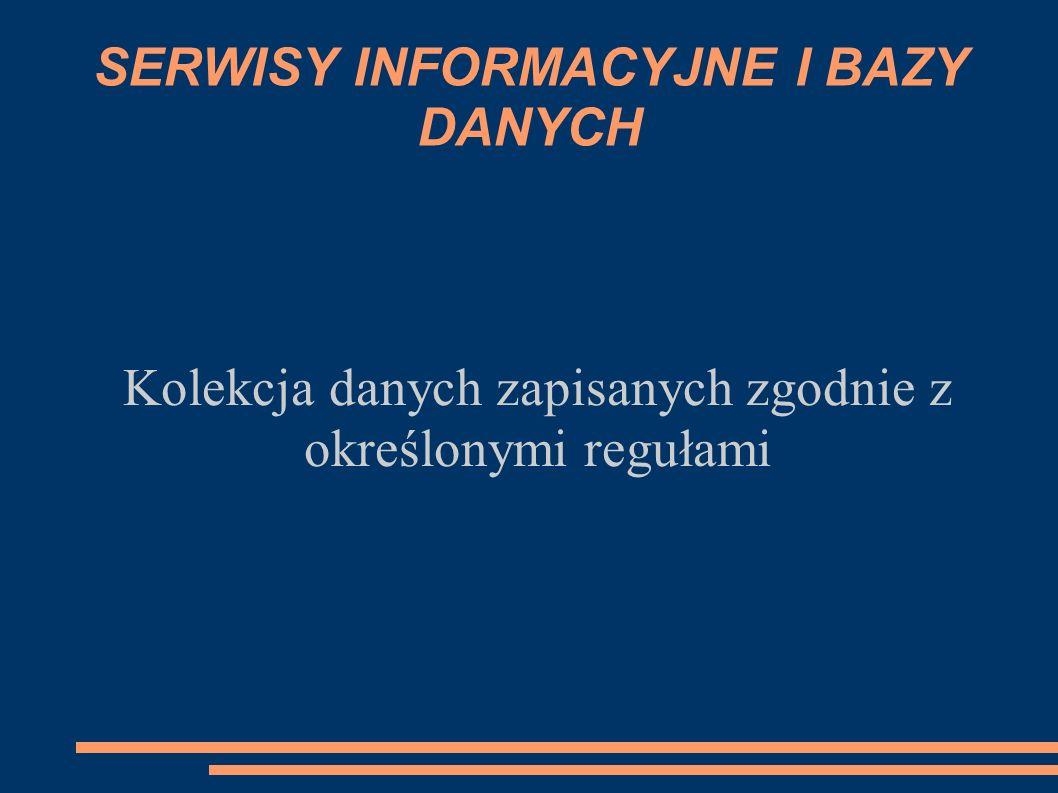 SERWISY INFORMACYJNE I BAZY DANYCH Kolekcja danych zapisanych zgodnie z określonymi regułami