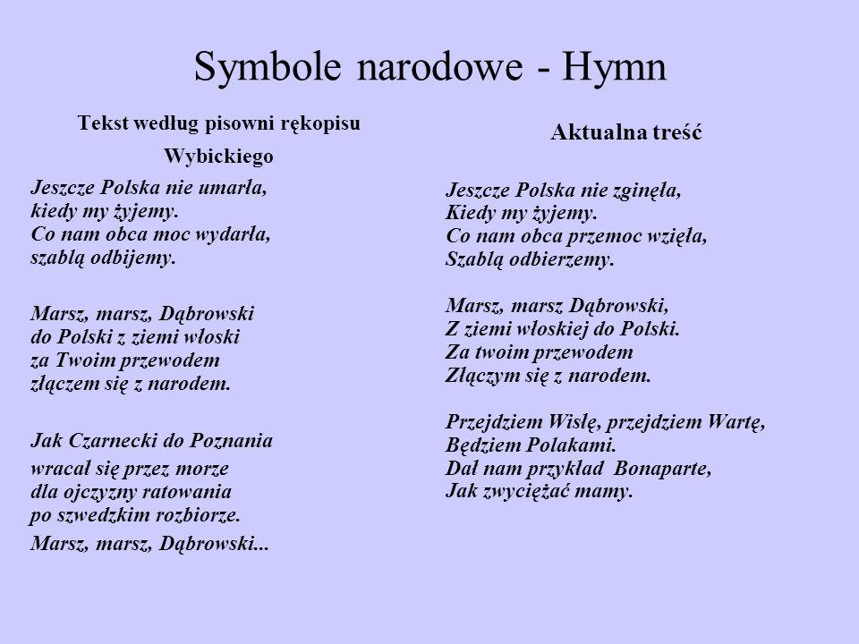 Symbole narodowe - Hymn Tekst według pisowni rękopisu Wybickiego Jeszcze Polska nie umarła, kiedy my żyjemy. Co nam obca moc wydarła, szablą odbijemy.