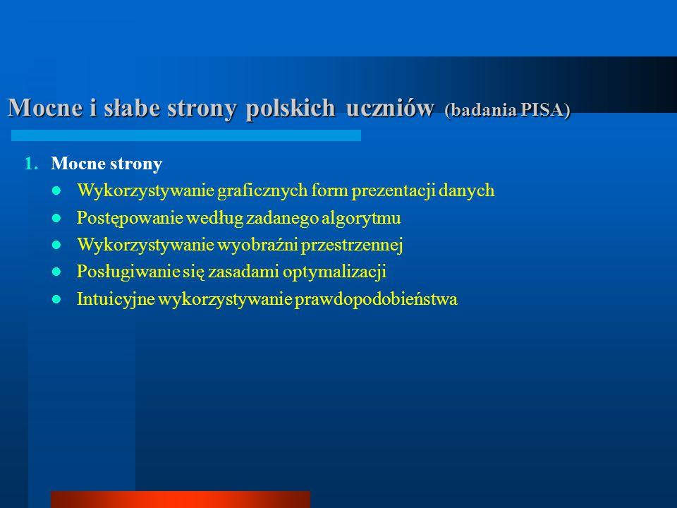 Mocne i słabe strony polskich uczniów (badania PISA) 1.Mocne strony Wykorzystywanie graficznych form prezentacji danych Postępowanie według zadanego a