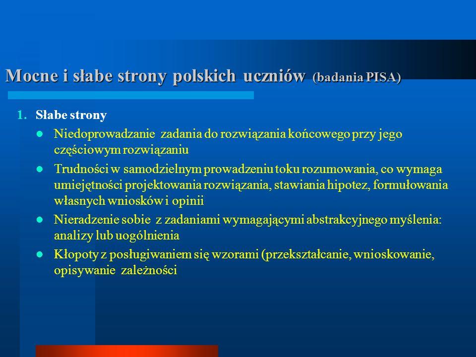 Mocne i słabe strony polskich uczniów (badania PISA) 1.Słabe strony Niedoprowadzanie zadania do rozwiązania końcowego przy jego częściowym rozwiązaniu