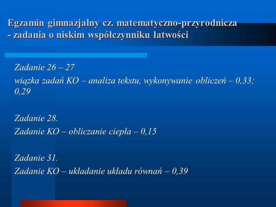 Egzamin gimnazjalny cz. matematyczno-przyrodnicza - zadania o niskim współczynniku łatwości Zadanie 26 – 27 wiązka zadań KO – analiza tekstu, wykonywa