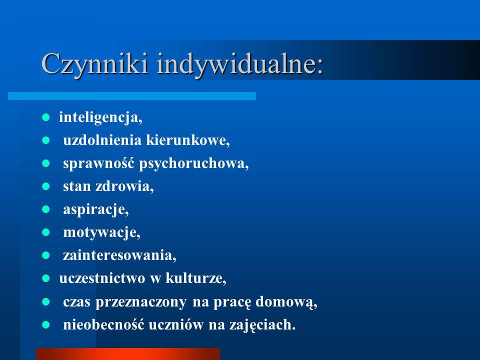 Czynniki indywidualne: inteligencja, uzdolnienia kierunkowe, sprawność psychoruchowa, stan zdrowia, aspiracje, motywacje, zainteresowania, uczestnictw