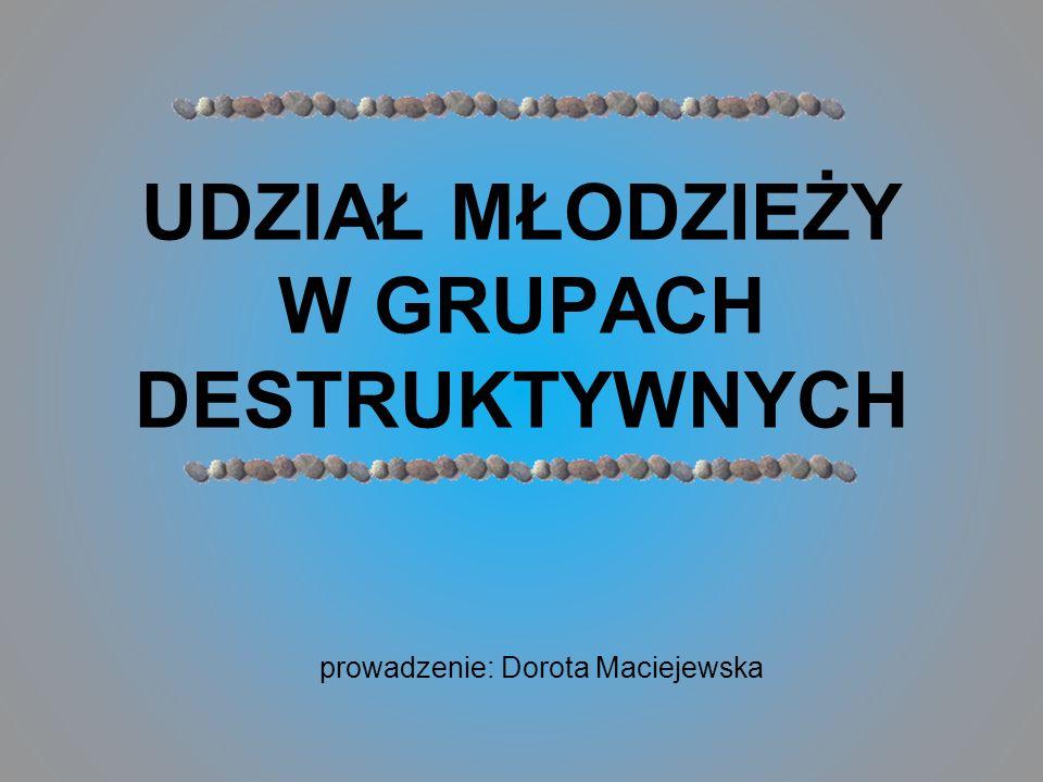 prowadzenie: Dorota Maciejewska UDZIAŁ MŁODZIEŻY W GRUPACH DESTRUKTYWNYCH