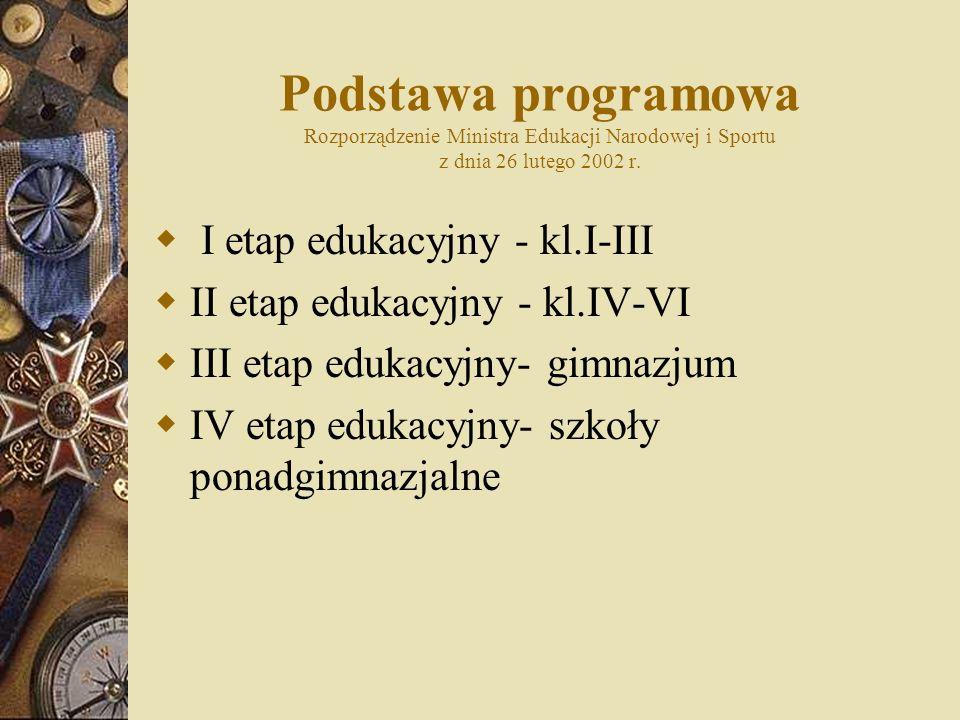 Podstawa programowa Rozporządzenie Ministra Edukacji Narodowej i Sportu z dnia 26 lutego 2002 r. I etap edukacyjny - kl.I-III II etap edukacyjny - kl.