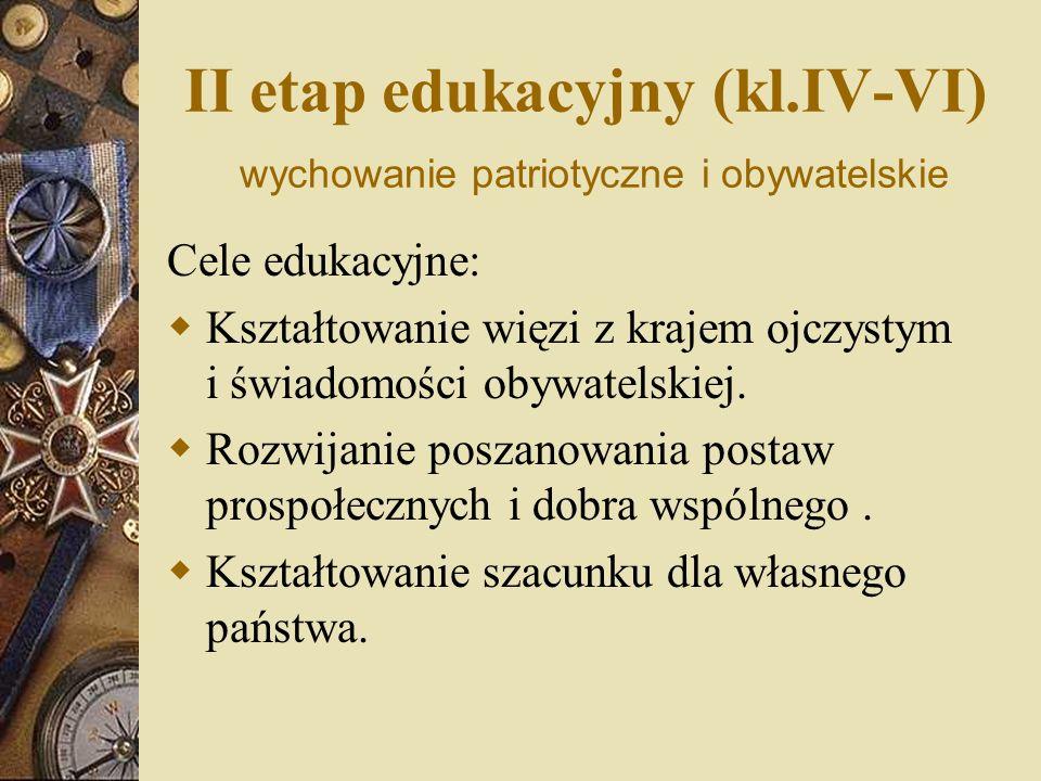 II etap edukacyjny (kl.IV-VI) wychowanie patriotyczne i obywatelskie Cele edukacyjne: Kształtowanie więzi z krajem ojczystym i świadomości obywatelskiej.