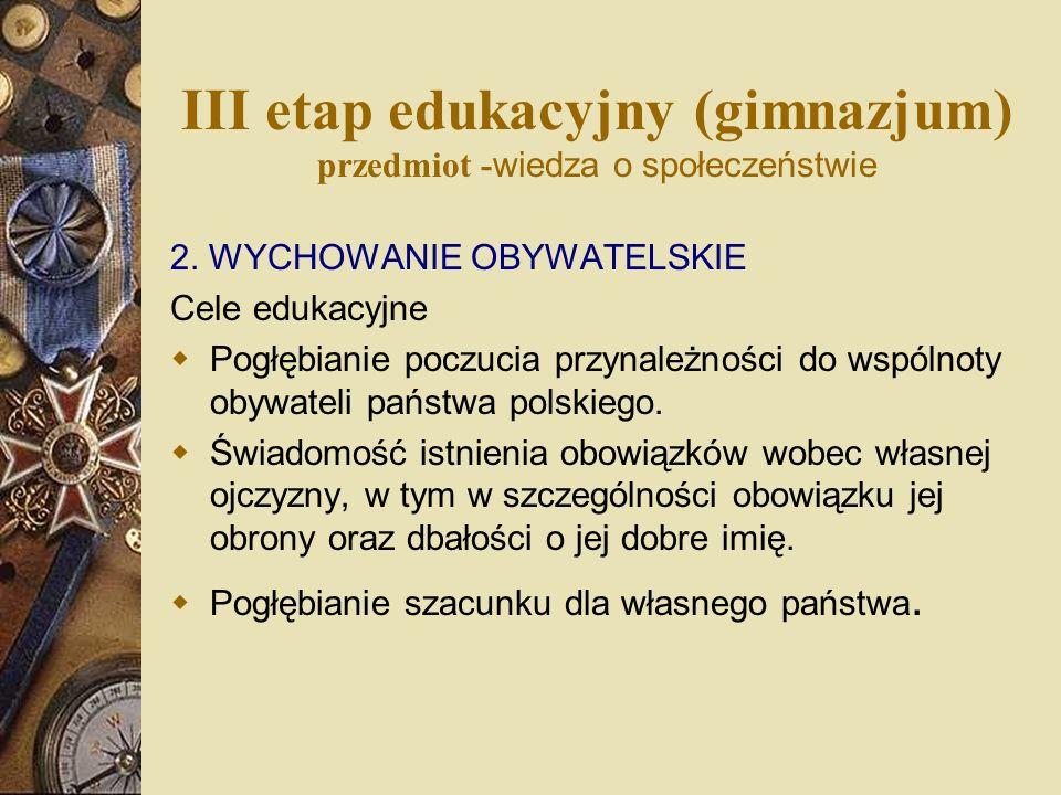 III etap edukacyjny (gimnazjum) przedmiot - wiedza o społeczeństwie 2. WYCHOWANIE OBYWATELSKIE Cele edukacyjne Pogłębianie poczucia przynależności do