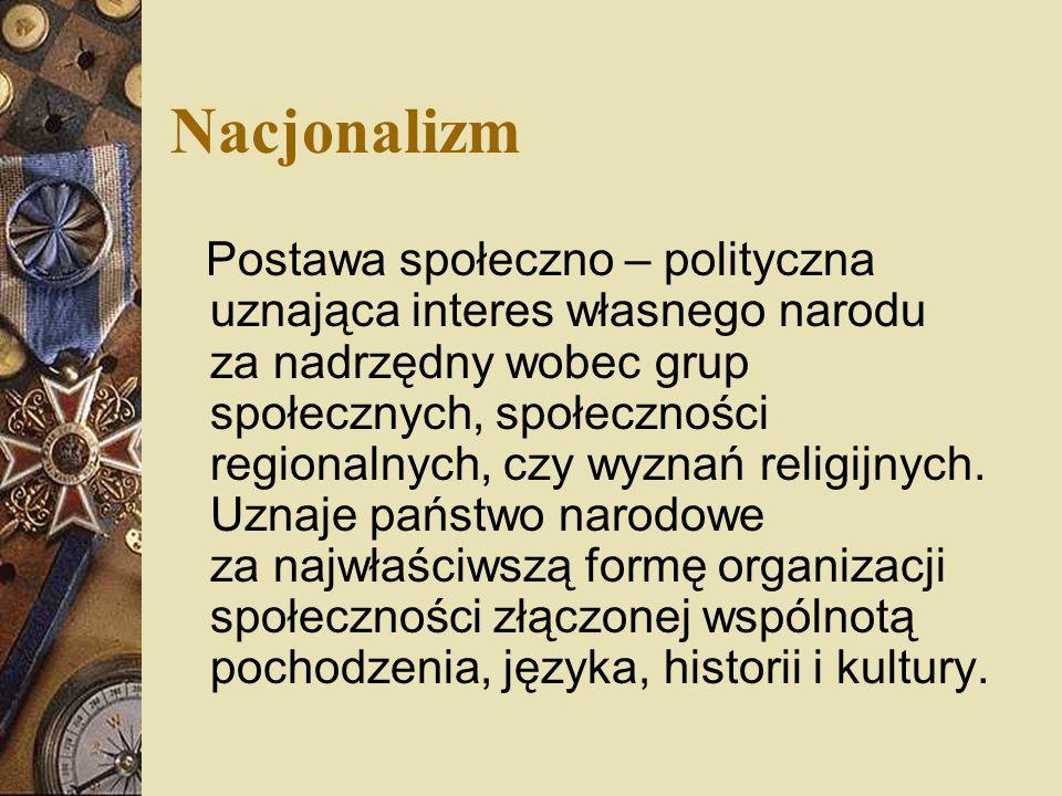 Nacjonalizm Postawa społeczno – polityczna uznająca interes własnego narodu za nadrzędny wobec grup społecznych, społeczności regionalnych, czy wyznań religijnych.