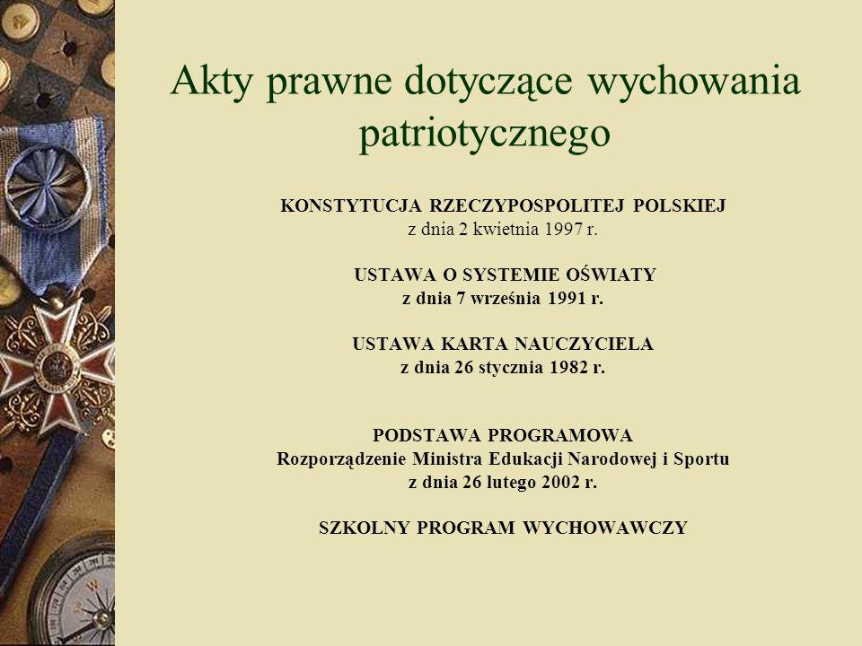 IV etap edukacyjny (szkoły ponadgimnazjalne) Wiedza o społeczeństwie Cele edukacyjne: Osiągnięcie zdolności do aktywności społecznej na gruncie szacunku dla własnego państwa i prawa Rozwijanie poczucia współodpowiedzialności za społeczeństwo i państwo Rozwijanie cnót społecznych i obywatelskich, patriotyzmu i odpowiedzialności za dobro wspólne Pogłębienie tożsamości narodowej i kulturowej Treści nauczania: Naród, tożsamość narodowa Patriotyzm i nacjonalizm Społeczeństwo obywatelskie Aktywność polityczna obywateli Konstytucja Rzeczypospolitej Polskiej Ustrój polityczny Rzeczypospolitej Polskiej Cnoty obywatelskie System prawny RP Prawa i obowiązki obywatelskie
