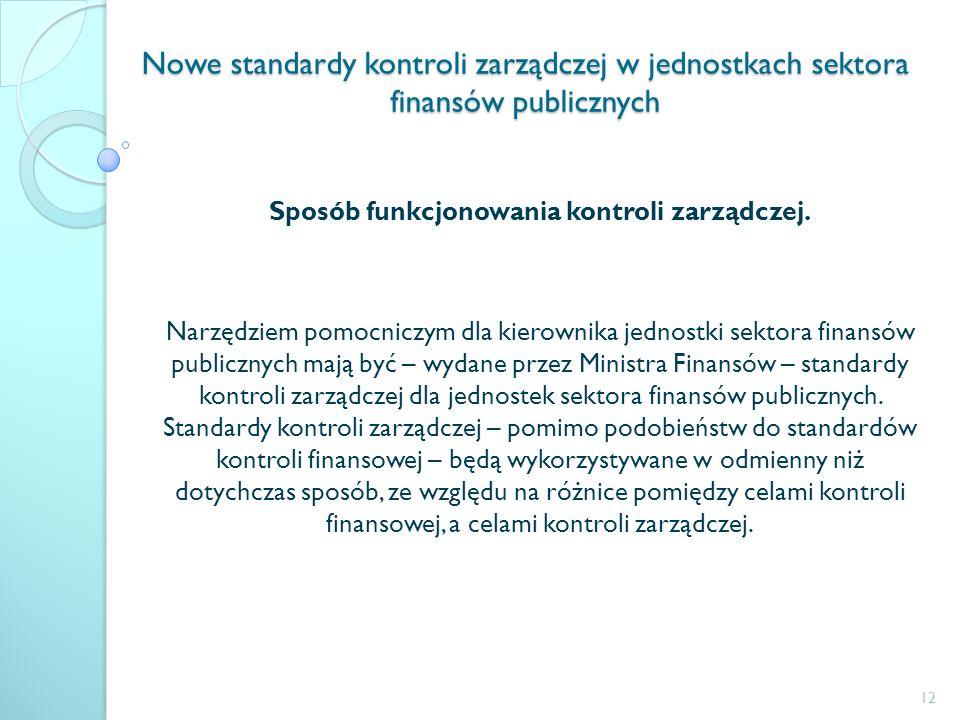 Nowe standardy kontroli zarządczej w jednostkach sektora finansów publicznych Sposób funkcjonowania kontroli zarządczej. Narzędziem pomocniczym dla ki