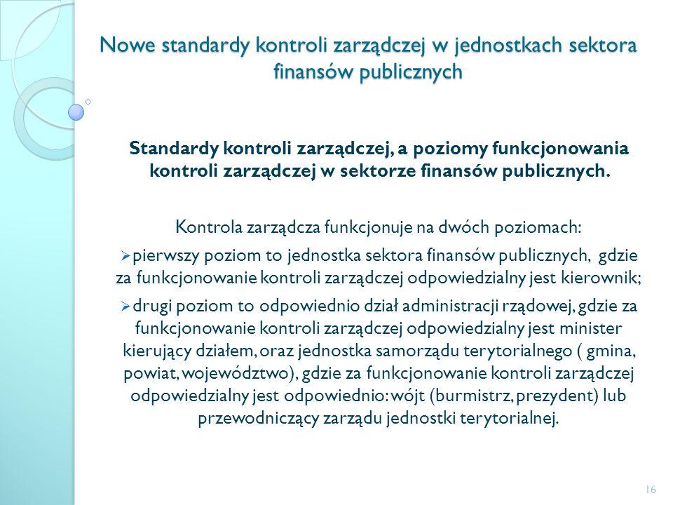 Nowe standardy kontroli zarządczej w jednostkach sektora finansów publicznych Standardy kontroli zarządczej, a poziomy funkcjonowania kontroli zarządc