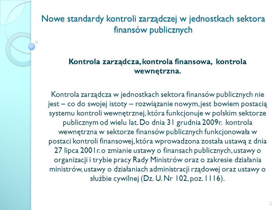 Nowe standardy kontroli zarządczej w jednostkach sektora finansów publicznych Kontrola zarządcza, kontrola finansowa, kontrola wewnętrzna. Kontrola za