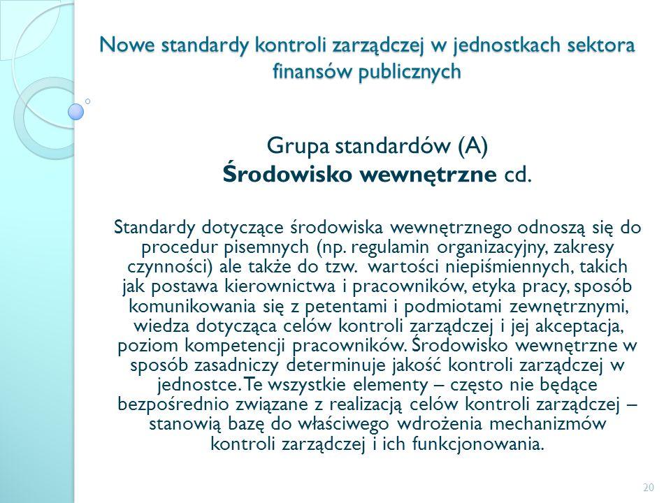 Nowe standardy kontroli zarządczej w jednostkach sektora finansów publicznych Grupa standardów (A) Środowisko wewnętrzne cd. Standardy dotyczące środo