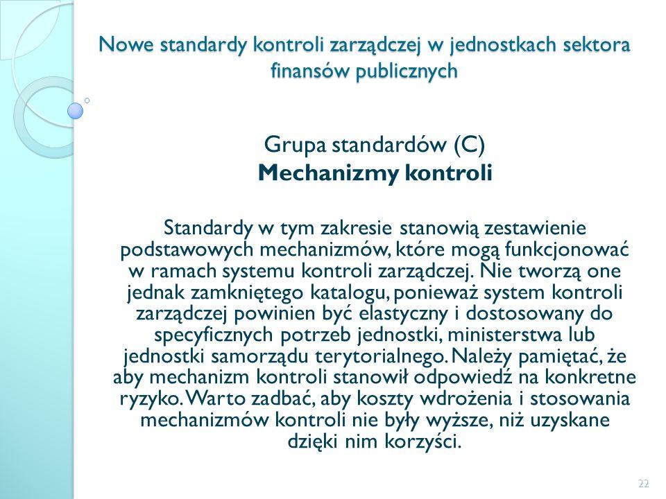 Nowe standardy kontroli zarządczej w jednostkach sektora finansów publicznych Grupa standardów (C) Mechanizmy kontroli Standardy w tym zakresie stanow