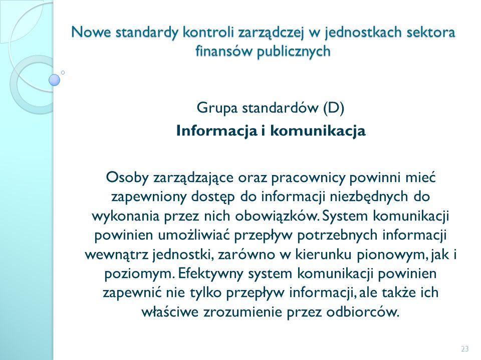 Nowe standardy kontroli zarządczej w jednostkach sektora finansów publicznych Grupa standardów (D) Informacja i komunikacja Osoby zarządzające oraz pr