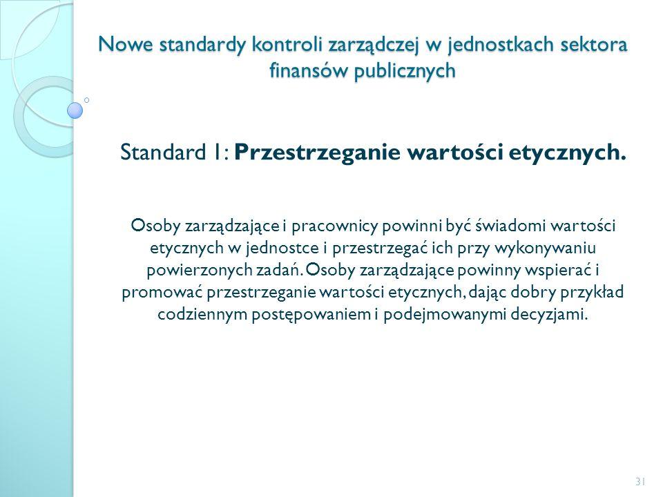 Nowe standardy kontroli zarządczej w jednostkach sektora finansów publicznych Standard 1: Przestrzeganie wartości etycznych. Osoby zarządzające i prac