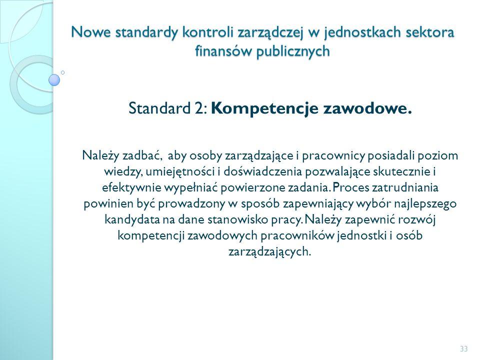 Nowe standardy kontroli zarządczej w jednostkach sektora finansów publicznych Standard 2: Kompetencje zawodowe. Należy zadbać, aby osoby zarządzające