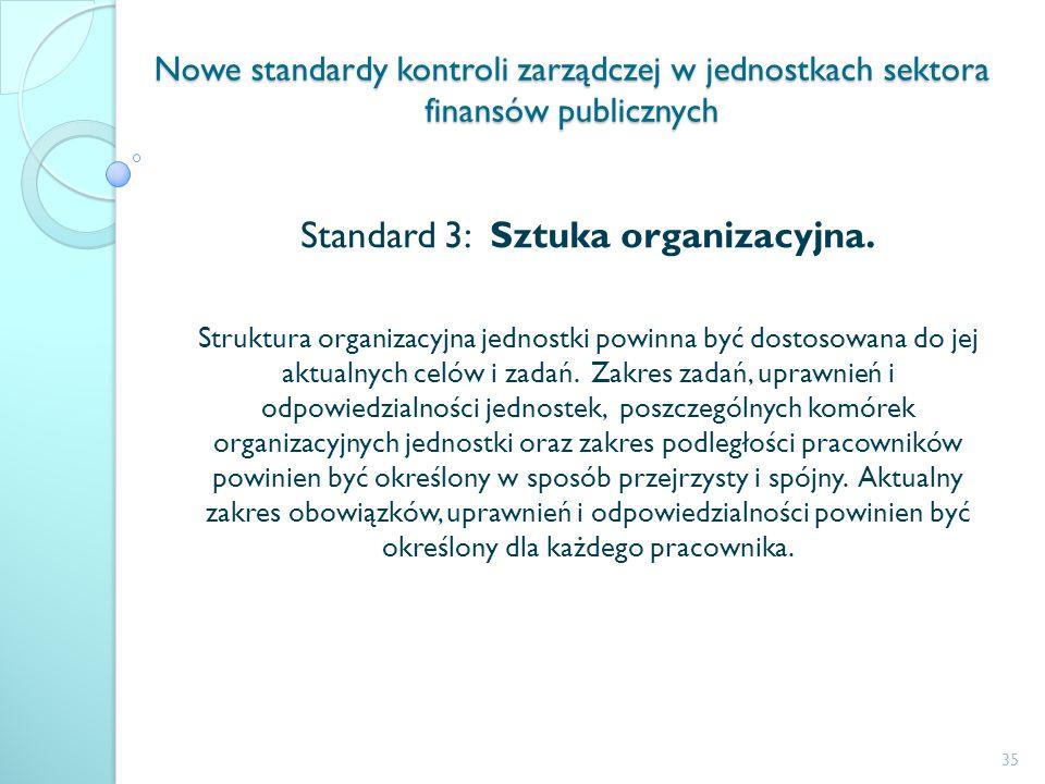 Nowe standardy kontroli zarządczej w jednostkach sektora finansów publicznych Standard 3: Sztuka organizacyjna. Struktura organizacyjna jednostki powi