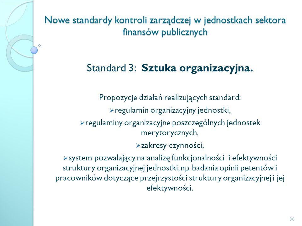 Nowe standardy kontroli zarządczej w jednostkach sektora finansów publicznych Standard 3: Sztuka organizacyjna. Propozycje działań realizujących stand