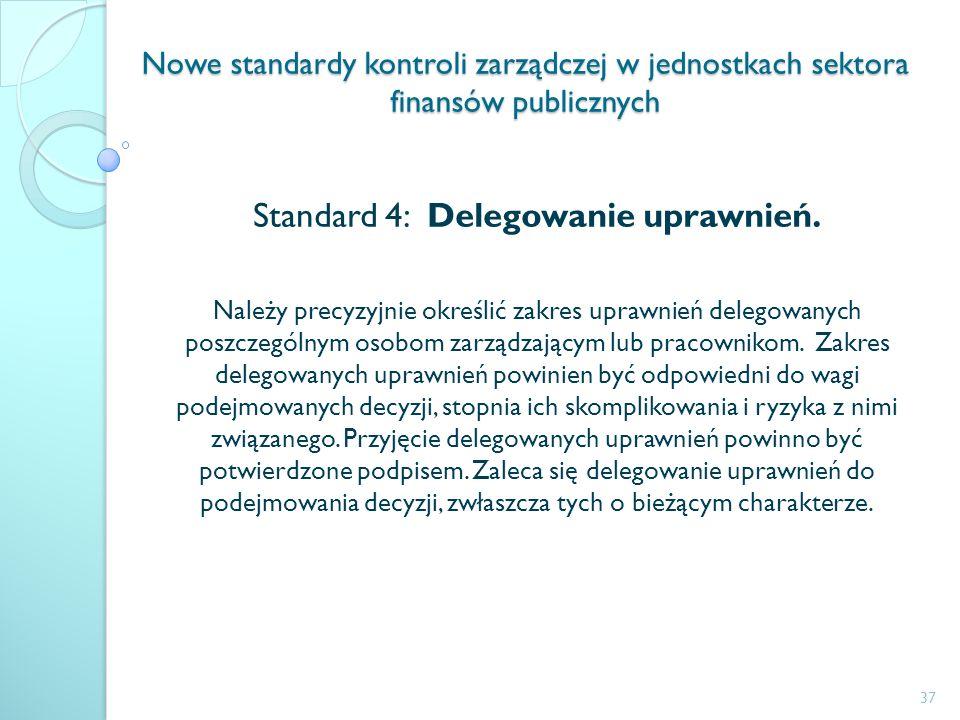 Nowe standardy kontroli zarządczej w jednostkach sektora finansów publicznych Standard 4: Delegowanie uprawnień. Należy precyzyjnie określić zakres up