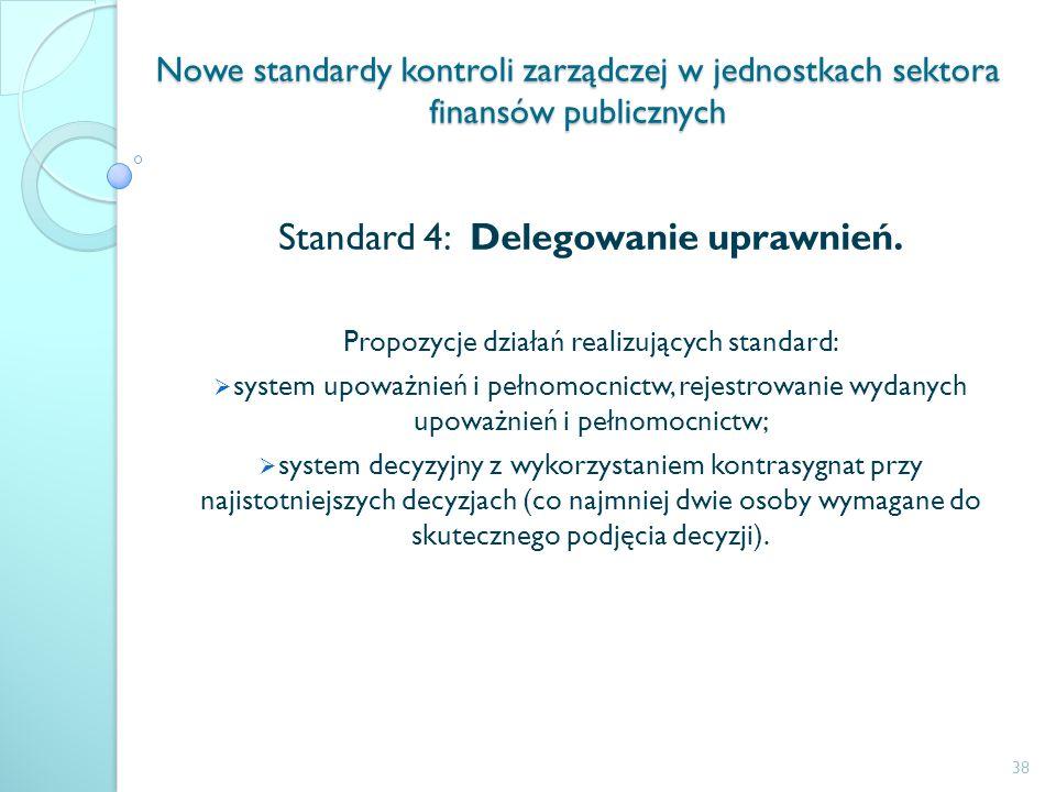 Nowe standardy kontroli zarządczej w jednostkach sektora finansów publicznych Standard 4: Delegowanie uprawnień. Propozycje działań realizujących stan