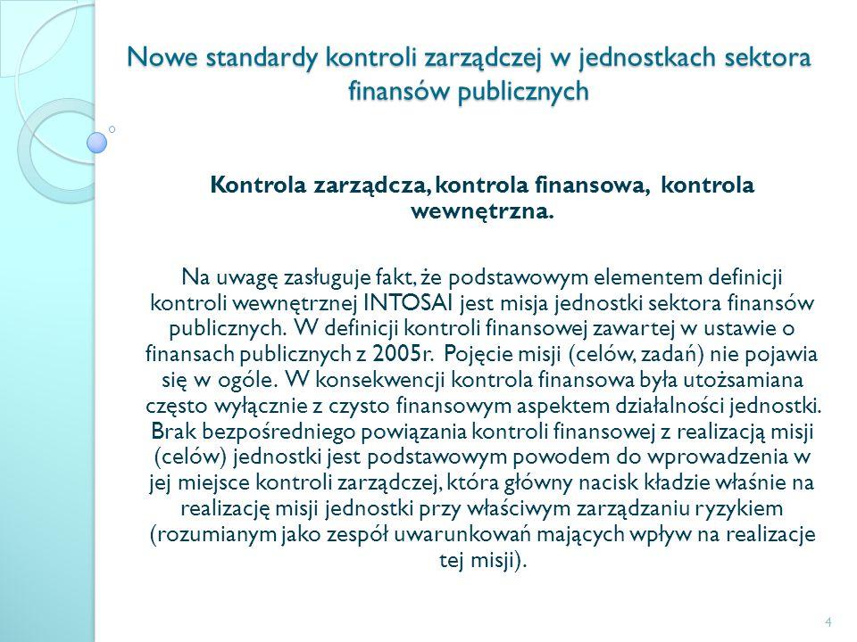Nowe standardy kontroli zarządczej w jednostkach sektora finansów publicznych Kontrola zarządcza, kontrola finansowa, kontrola wewnętrzna. Na uwagę za