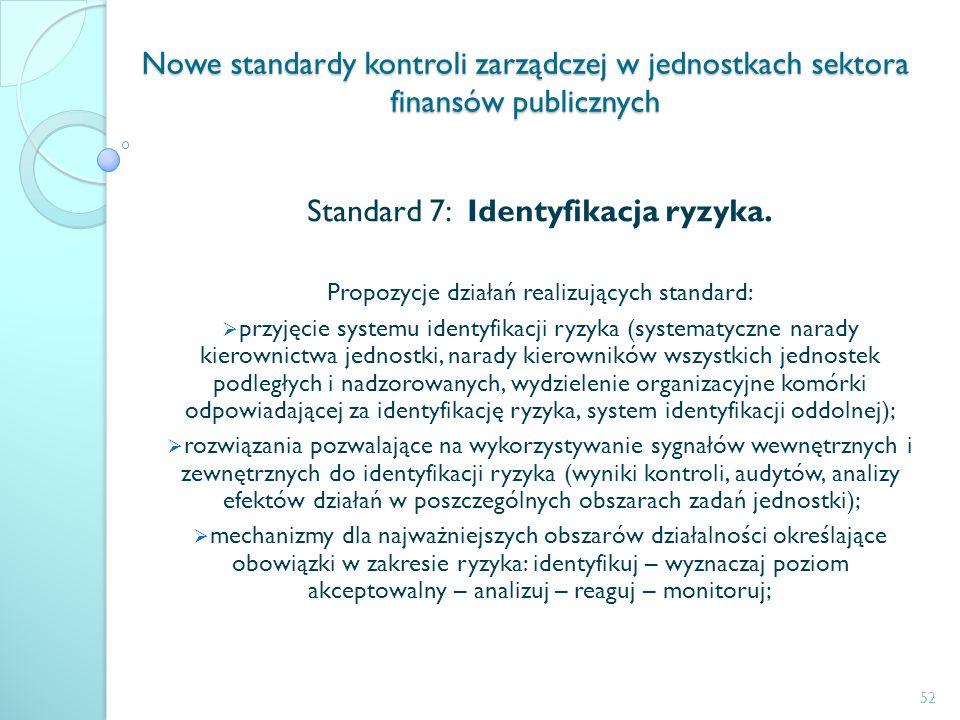 Nowe standardy kontroli zarządczej w jednostkach sektora finansów publicznych Standard 7: Identyfikacja ryzyka. Propozycje działań realizujących stand
