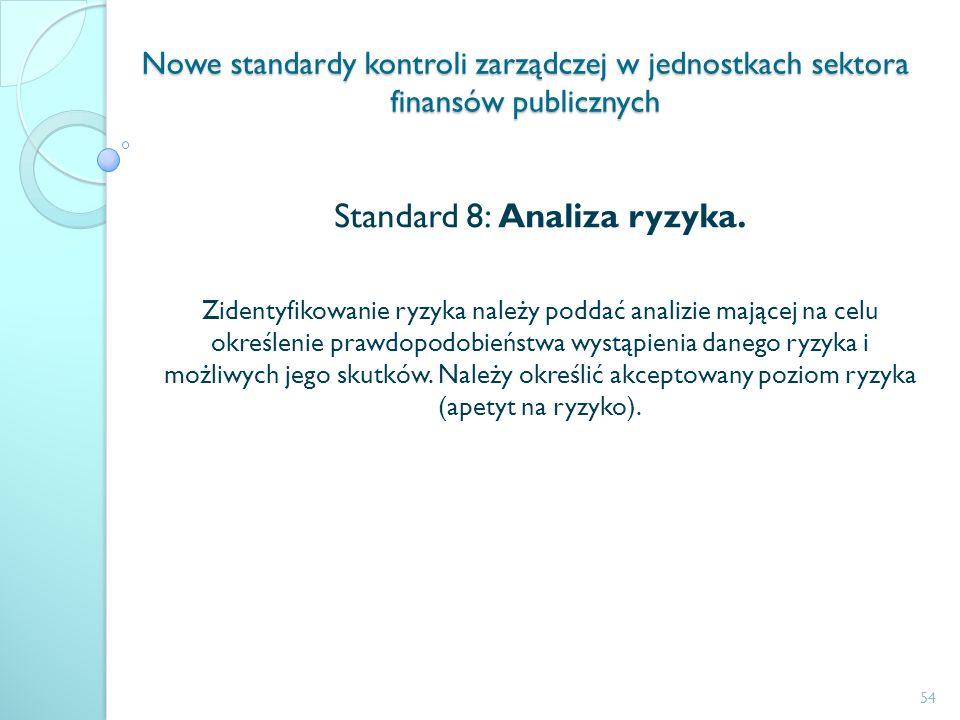 Nowe standardy kontroli zarządczej w jednostkach sektora finansów publicznych Standard 8: Analiza ryzyka. Zidentyfikowanie ryzyka należy poddać analiz