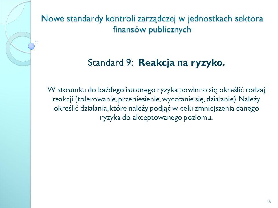Nowe standardy kontroli zarządczej w jednostkach sektora finansów publicznych Standard 9: Reakcja na ryzyko. W stosunku do każdego istotnego ryzyka po