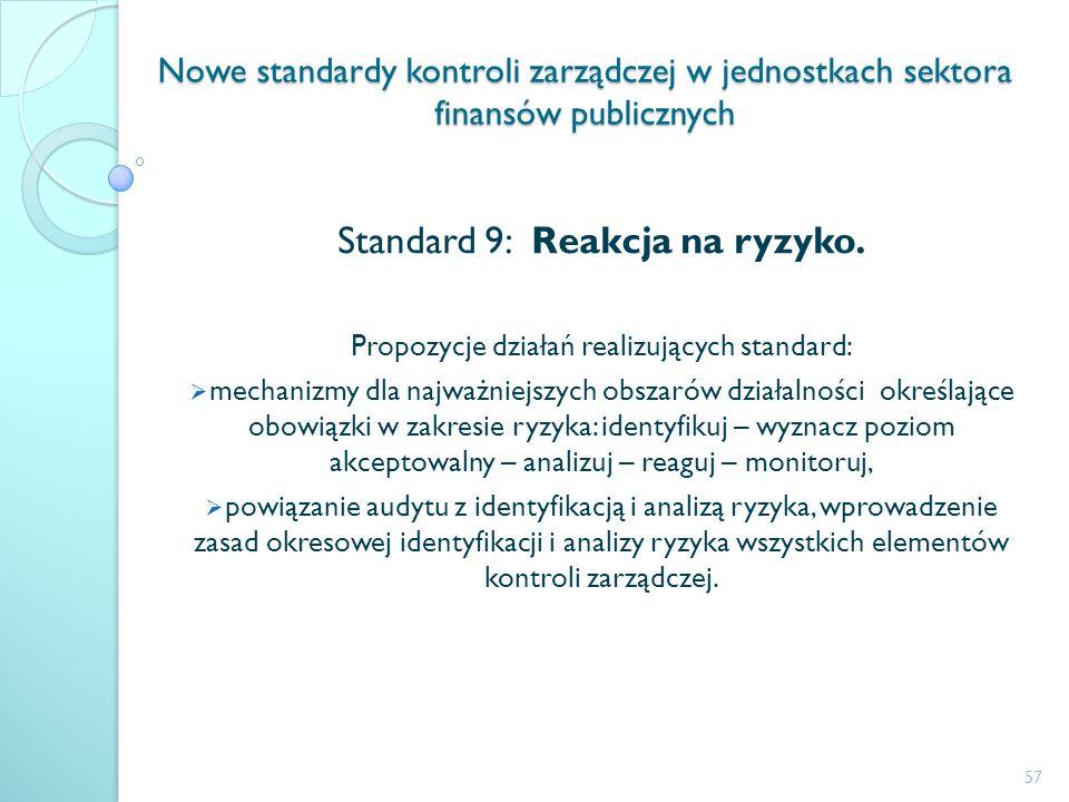 Nowe standardy kontroli zarządczej w jednostkach sektora finansów publicznych Standard 9: Reakcja na ryzyko. Propozycje działań realizujących standard