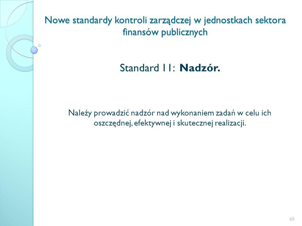 Nowe standardy kontroli zarządczej w jednostkach sektora finansów publicznych Standard 11: Nadzór. Należy prowadzić nadzór nad wykonaniem zadań w celu