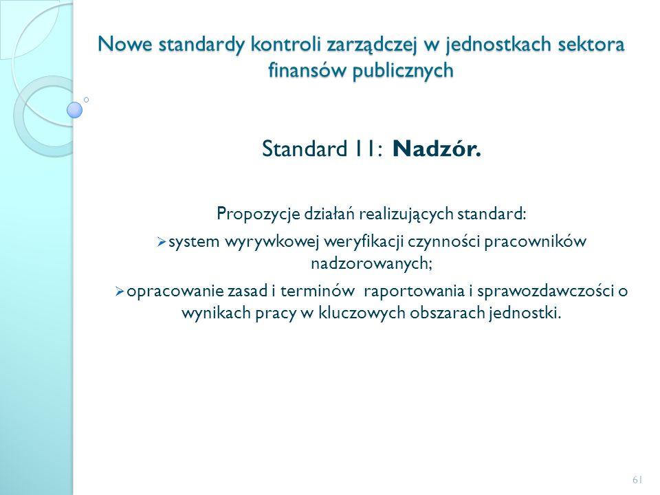 Nowe standardy kontroli zarządczej w jednostkach sektora finansów publicznych Standard 11: Nadzór. Propozycje działań realizujących standard: system w