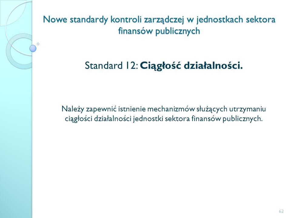 Nowe standardy kontroli zarządczej w jednostkach sektora finansów publicznych Standard 12: Ciągłość działalności. Należy zapewnić istnienie mechanizmó