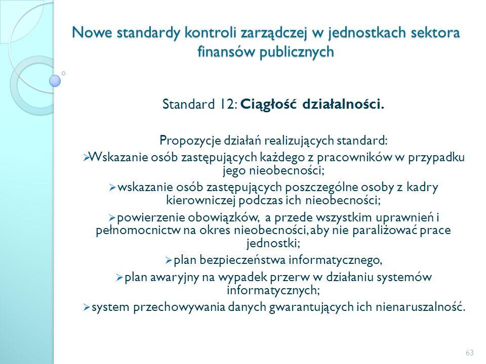 Nowe standardy kontroli zarządczej w jednostkach sektora finansów publicznych Standard 12: Ciągłość działalności. Propozycje działań realizujących sta