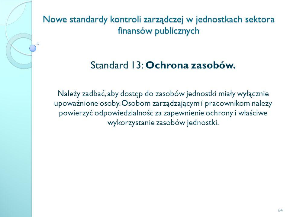 Nowe standardy kontroli zarządczej w jednostkach sektora finansów publicznych Standard 13: Ochrona zasobów. Należy zadbać, aby dostęp do zasobów jedno