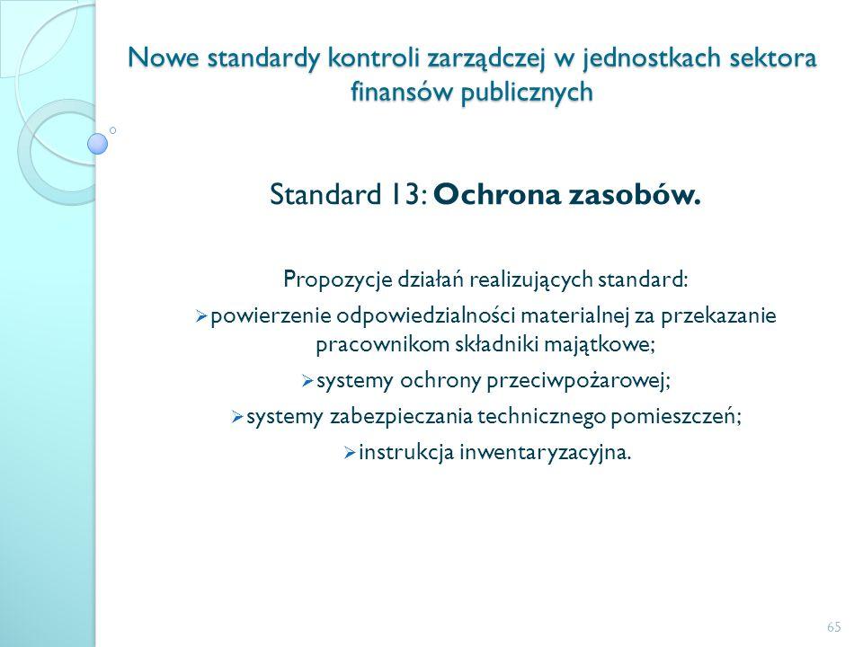 Nowe standardy kontroli zarządczej w jednostkach sektora finansów publicznych Standard 13: Ochrona zasobów. Propozycje działań realizujących standard: