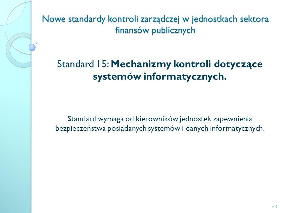 Nowe standardy kontroli zarządczej w jednostkach sektora finansów publicznych Standard 15: Mechanizmy kontroli dotyczące systemów informatycznych. Sta