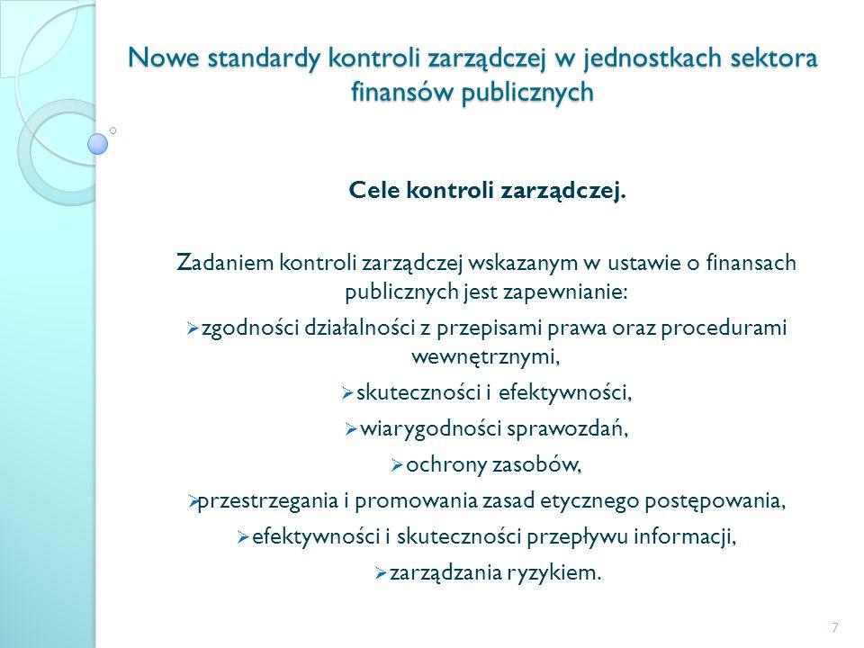 Nowe standardy kontroli zarządczej w jednostkach sektora finansów publicznych Cele kontroli zarządczej. Zadaniem kontroli zarządczej wskazanym w ustaw