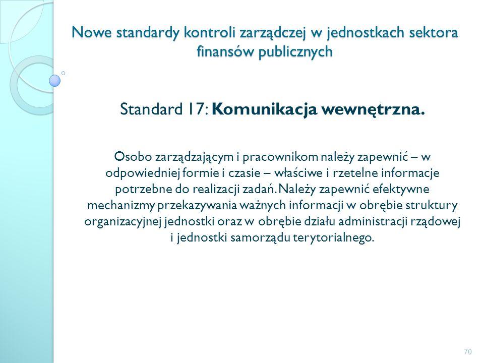 Nowe standardy kontroli zarządczej w jednostkach sektora finansów publicznych Standard 17: Komunikacja wewnętrzna. Osobo zarządzającym i pracownikom n