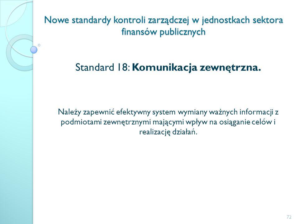 Nowe standardy kontroli zarządczej w jednostkach sektora finansów publicznych Standard 18: Komunikacja zewnętrzna. Należy zapewnić efektywny system wy