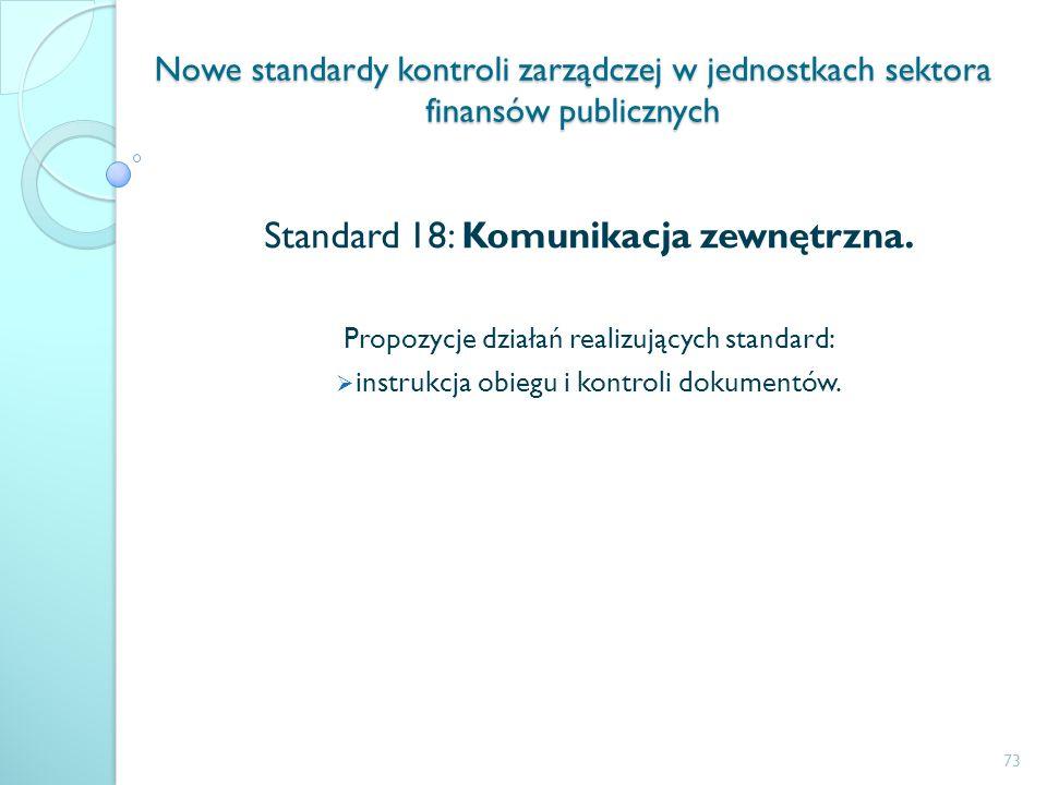 Nowe standardy kontroli zarządczej w jednostkach sektora finansów publicznych Standard 18: Komunikacja zewnętrzna. Propozycje działań realizujących st