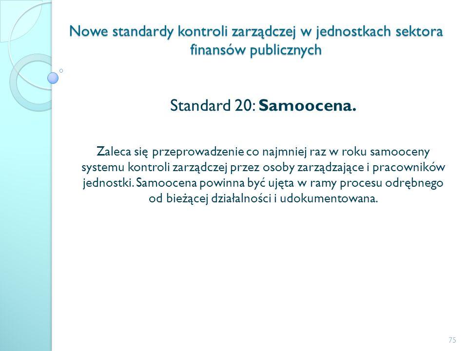 Nowe standardy kontroli zarządczej w jednostkach sektora finansów publicznych Standard 20: Samoocena. Zaleca się przeprowadzenie co najmniej raz w rok