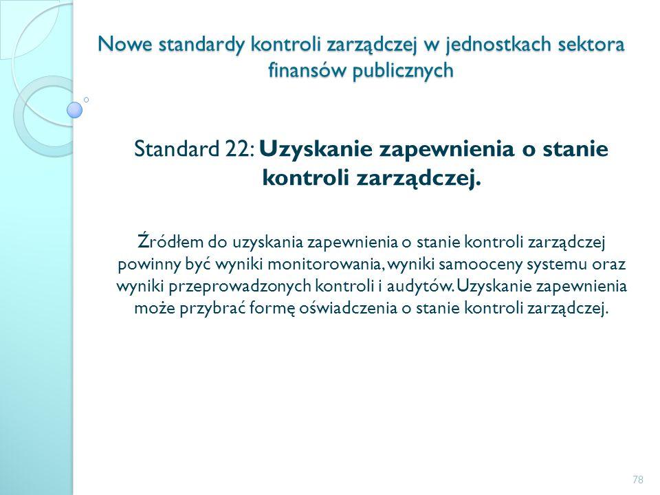 Nowe standardy kontroli zarządczej w jednostkach sektora finansów publicznych Standard 22: Uzyskanie zapewnienia o stanie kontroli zarządczej. Źródłem