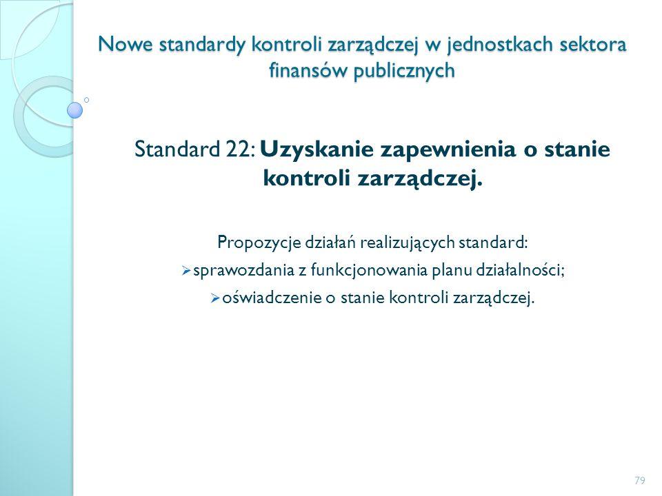 Nowe standardy kontroli zarządczej w jednostkach sektora finansów publicznych Standard 22: Uzyskanie zapewnienia o stanie kontroli zarządczej. Propozy